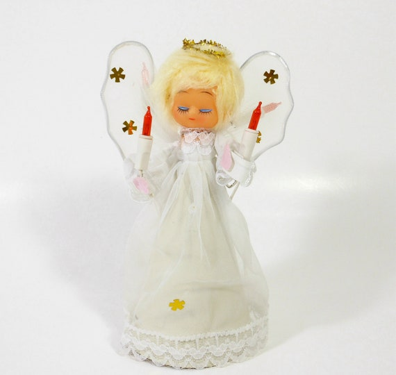 Vintage Christmas Angel Tree Topper Blond Light Up Electric