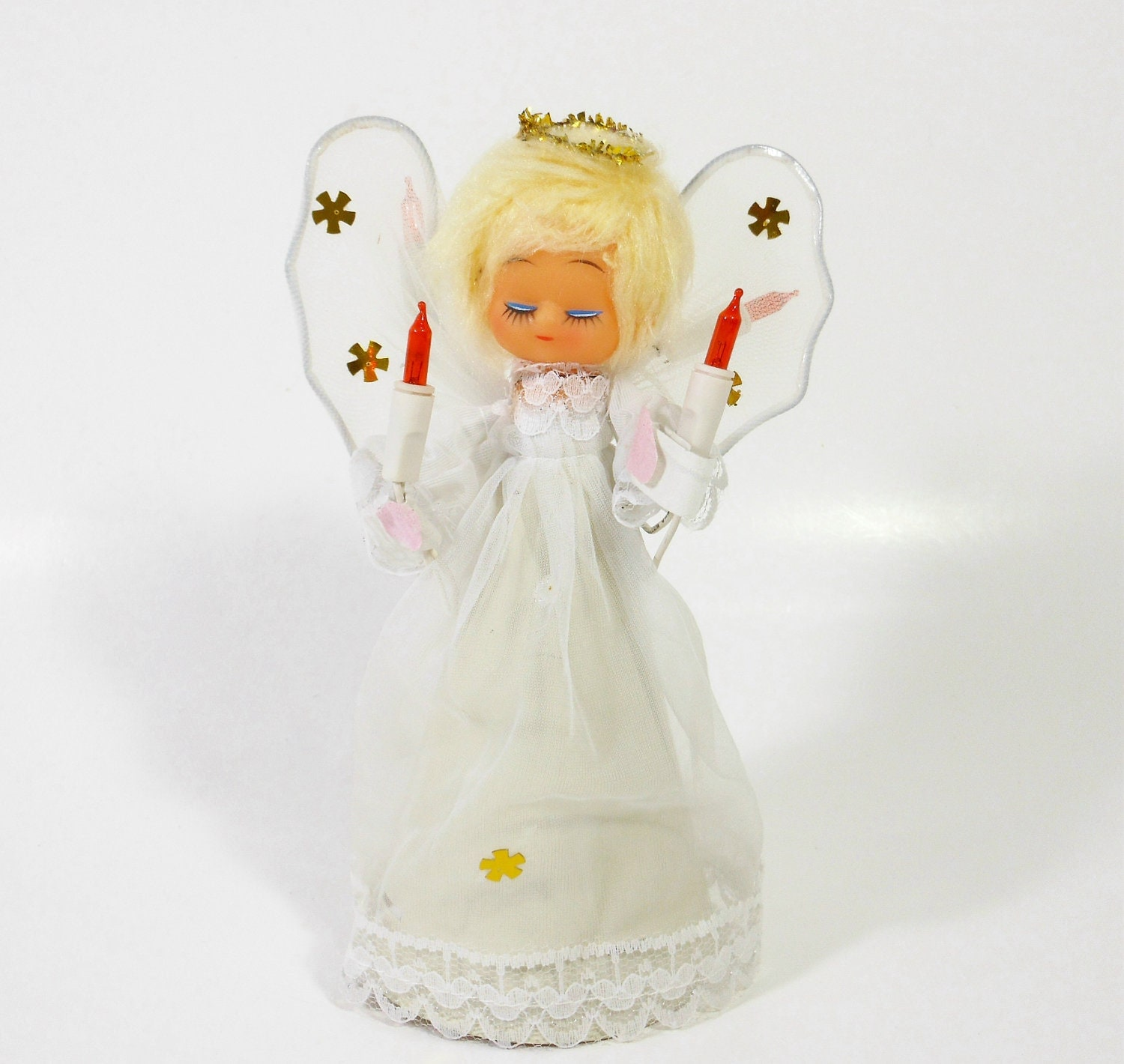 Christmas Tree Angel Tree Topper: Vintage Christmas Angel Tree Topper Blond Light Up Electric