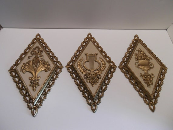 Vintage Diamond Wall Plaques 70s Gold and Beige Ornate Plastic Homco 1971 Early 1970s decor