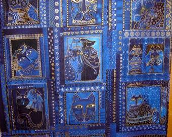 Fabric Clothworks Laurel Burch Fabulous Felines Blue Cats metallic gold PANEL 23.5 in long by 22 in wide