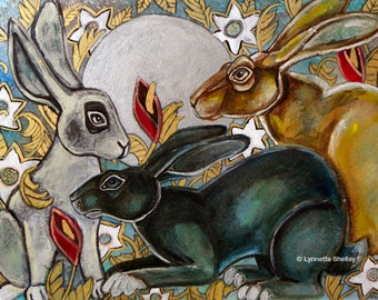 Three Moon Gazing Hares Animal Art Print by Lynnette Shelley