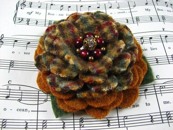 My Plaid Collection - Handcut Felted Wool Flower Brooch Pin in Mustard Yellow and Plaid with Vintage Earring Center