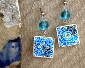 Portugal Tile Antique Replicas 17th Century BLUE Earrings (see photo)  Waterproof and Reversible - 292