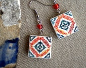 Portugal Tile Antique Replicas Red Blue TORRES VEDRAS (see photo)  Waterproof and Reversible Majolica 743