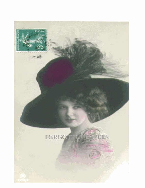 Beautiful EDWARDIAN French Girl  in HUGE Feathered  Hat - Hand Tinted Vintage Postcard