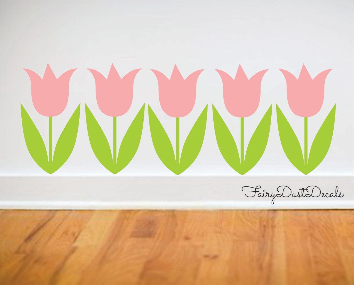 Tulip wall decals set of 5 tulip flower decals by FairyDustDecals