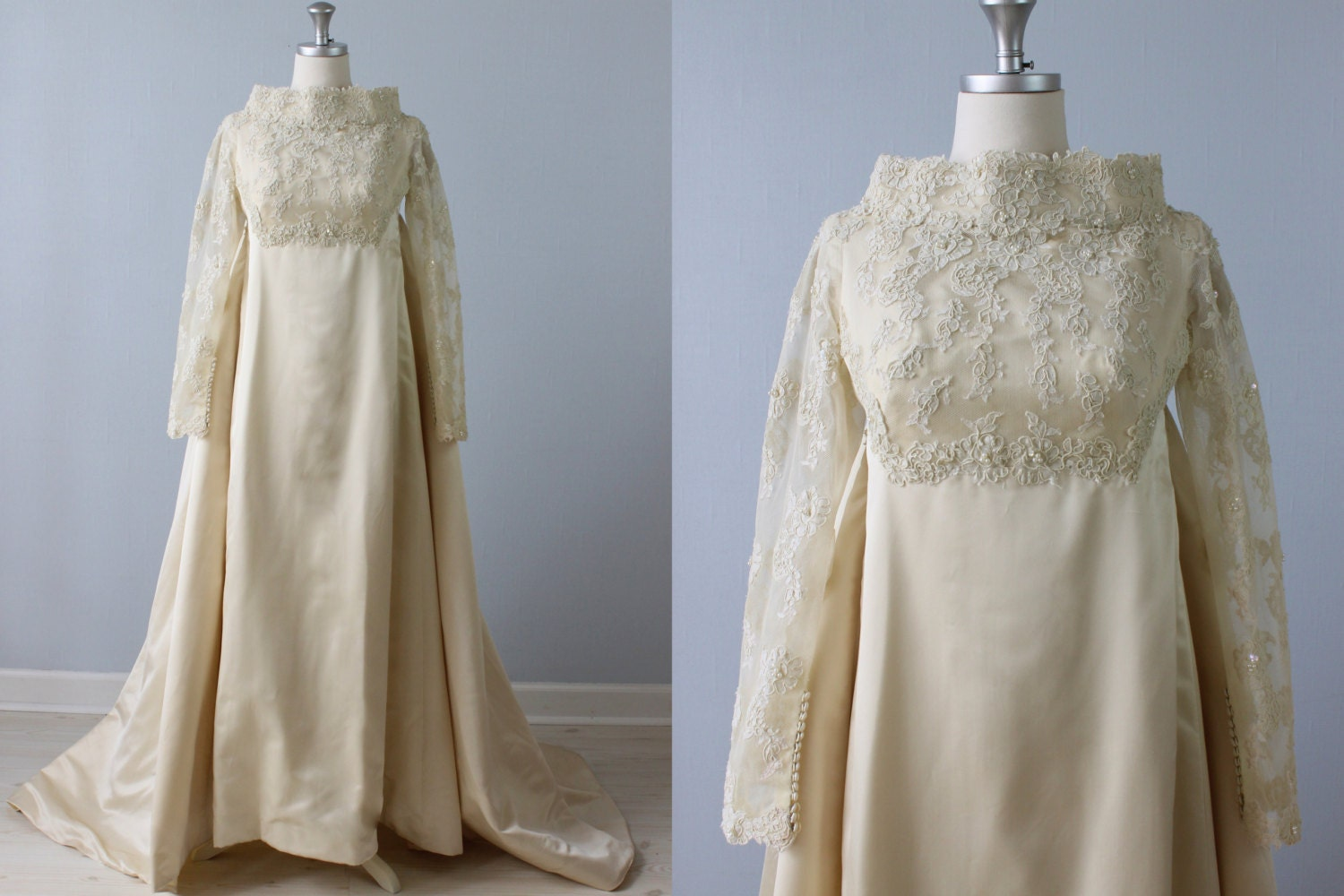 Sale vintage 1960s wedding dress watteau train lace for 1970s wedding dresses for sale