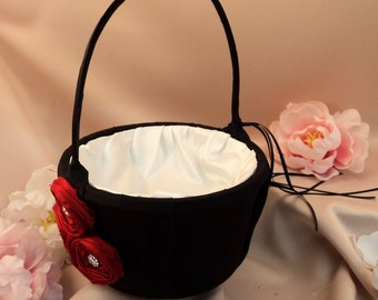 Dupioni Silk Flower Trio Flower Girl Basket Set with Rhinestone Accents...Shown in black/red/ivory