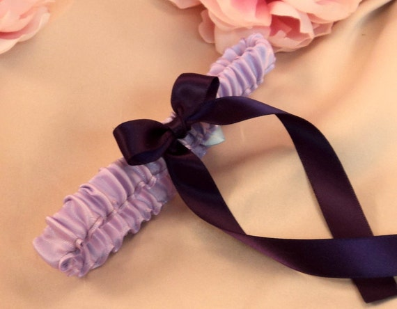 Simple Satin Bridal Garter with BONUS Something Blue..You Choose The Colors..shown in lilac/eggplant deep purple