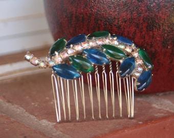 H16 Something Blue Vintage Upcycled Leaf Blue Emerald Glass Rhinestone Hair Comb