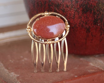 H172 Vintage Upcycled Goldstone Hair Comb