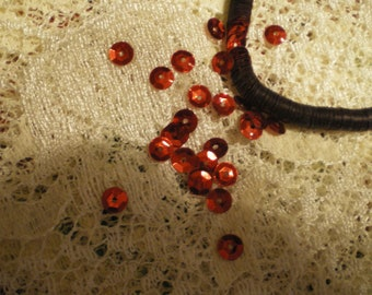 Vintage Bright Red Cupped Faceted Sequins 5mm