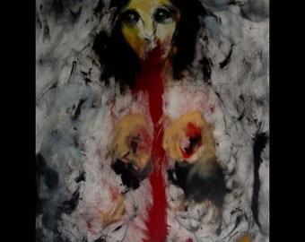 Kelli Dubay Original Fine Art Oil Pigment Stick Portrait Painting Throwing Up You Blood Nude Sad graphite mixed media 100% cotton Rag paper