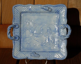 Square horse plate with handles