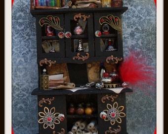 Witch gothic spell hutch Red crystal dollhouse miniature hutch ooak gypsy