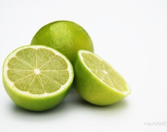 Green limes print, lime wall art photography, kitchen fruit decor, green home decor, foodie decor, cut lime photo, fruit photography
