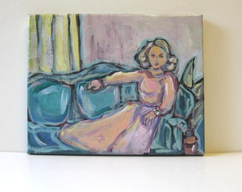 Figure Painting  Woman in Pink Portrait Painting Original Acrylic Painting Still life