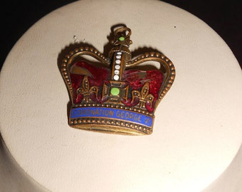 """1937, 1 1/2"""" wide, .commemorative crown pin, for the coronation of King George the Vl"""