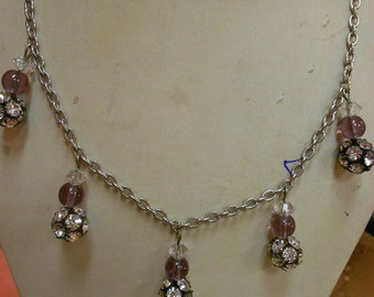 """1950's, 20"""" long, silver toned metal chained, rhinestone, necklace"""