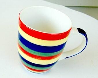 Vintage Multicolor Striped Mug