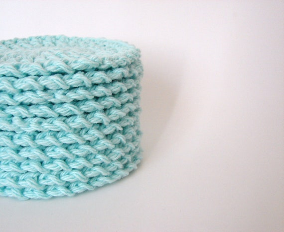 Crochet Face Scrubbies Mint Green Reusable Cotton Rounds Set of 10 - MADE TO ORDER
