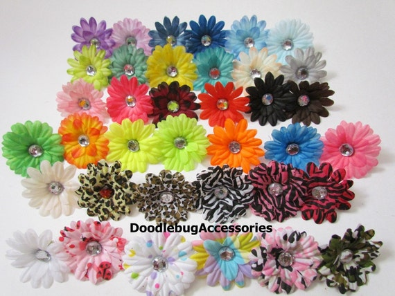 SALE YOU PIck 12 Gerber Daisy Flowers  2 Inch High Quality With Crystal Center From 32 Colors