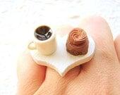 Food Ring  Coffee Chocolate Cake Miniature Food Jewelry SALE