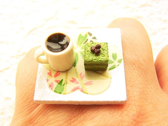 Coffee Ring  Miniature Food Jewelry Coffee And Matcha Cake Chiyogami Plum Blossom