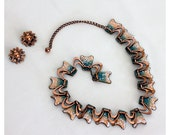 Vintage 60s Copper Enamel Necklace and Starburst Clip On Earrings