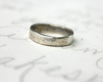 silver wedding band ring . womens mens wedding band . smooth rustic wedding band . my love engraved secret message