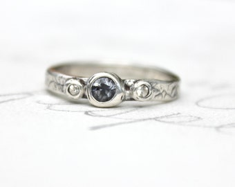 spinel sapphire engagement ring . blue unique engagement ring . three stone ring . made to order in your size