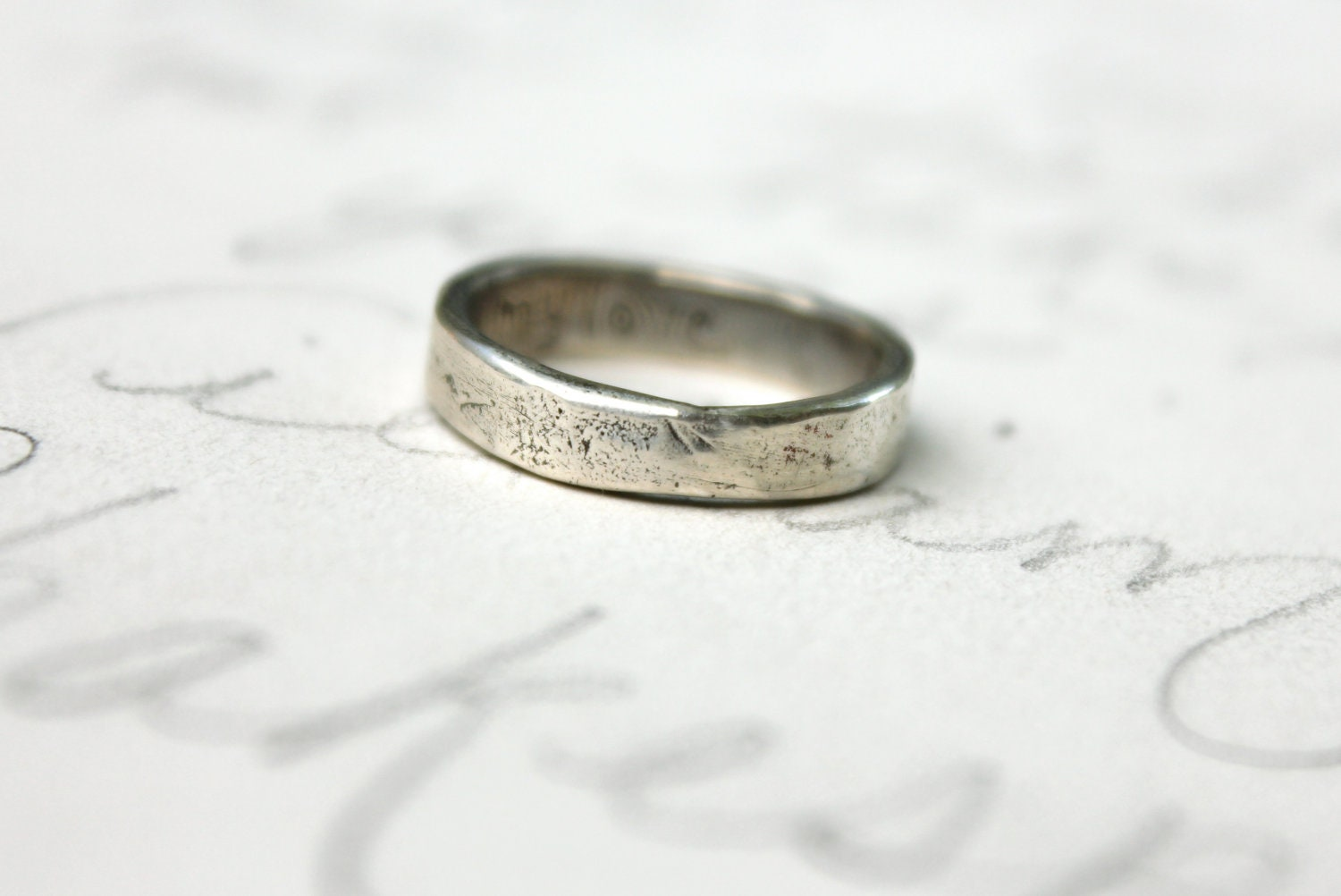 silver wedding band ring smooth rustic wedding band womens With rustic womens wedding rings