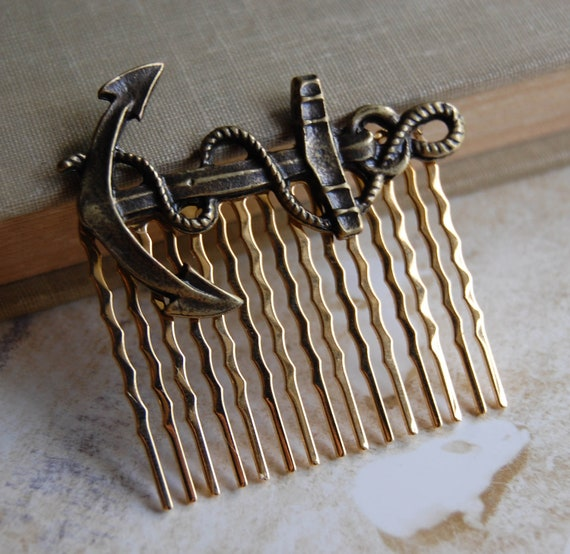 Anchor Hair Comb in Antique Brass