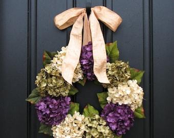 Spring Summer Wreaths, Hydrangea Wreath, Spring Summer Decorations, Online Wreath, Spring Summer Hydrangeas, Spring Summer Home Decor