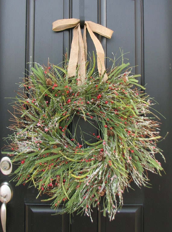 Christmas Wreaths The First Snow, Christmas Snow, Winter Wonderland, Holiday Wreaths, Winter Wreath, Pine and Berries Wreath