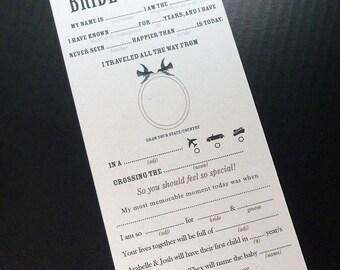 PRINTABLE Vintage Love Birds Wedding Mad Libs