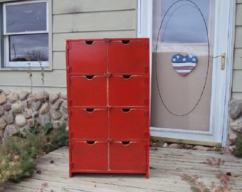 """48"""" TALL Distressed Dresser Red Book Case Storage Unit TV cabinet Shabby Chic Contemporary Entertainment Center reclaimed wood look"""