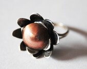Sterling Silver and Copper Wild Flower  ring - OAK