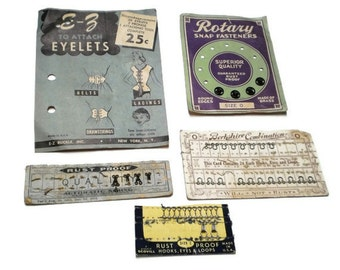 Antique Sewing Notions 5 Snap Cards Hook Eye Cards Victorian Collection Mid Century Lot Paper Ephemera Collage Pack Inspiration Kit Vintage