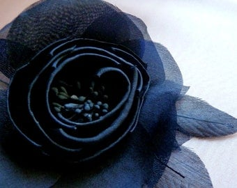 Camellia Silk Flower in Navy Midnight Blue for Bridal, Sashes, Hats, Corsages, Wrists, Bouquets MF 100