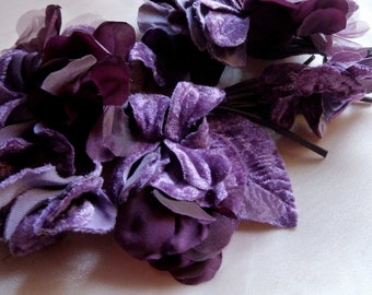 PLUM Velvet and Organza Flowers for Bridal, Boutonnieres, Millinery MF30