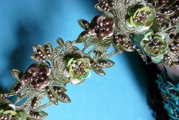 """Beaded Trim 18"""" in Pippin Green for Headbands, Costume or Jewelry Design, Crafts"""