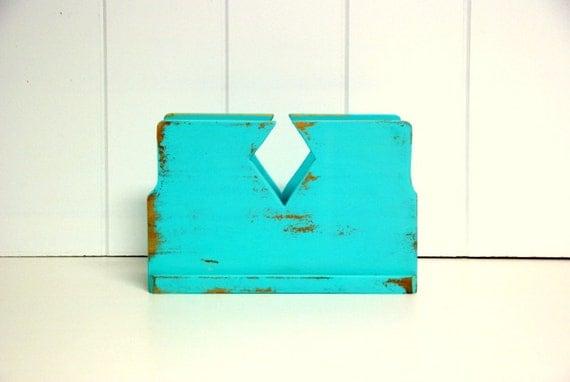 Shabby Geometric Napkin Holder in Turquoise by speckleddog on Etsy - tt team