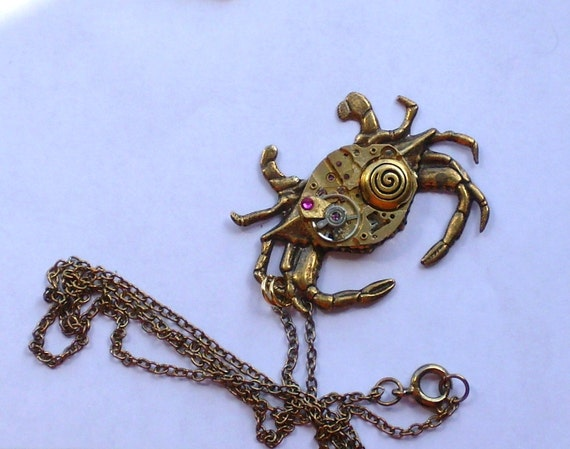 Steampunk Crab Necklace Gold Crab Pendant Steam Punk Zodiac Cancer Necklace