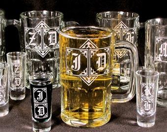 10 Gifts for Groomsmen Sets, Monogrammed Beer Mugs, Shot Glasses, Wedding Party Gift Set