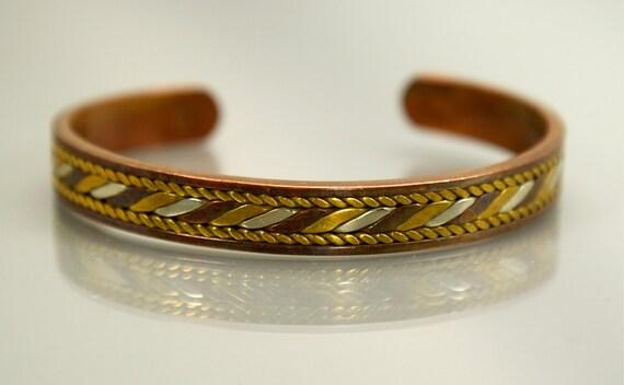 Vintage Copper Brass and Silver Cuff Bracelet