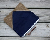 navy waxed canvas foldover clutch leather tie rustic wedding