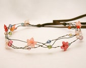 Custom for Carleen-wired beads and vintage flower hair wreath