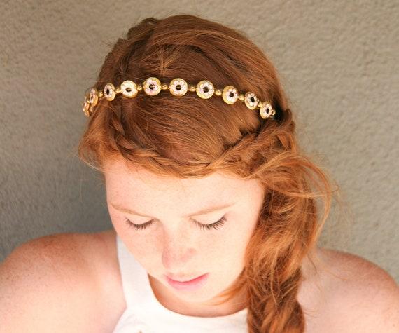 gold bead headband, headbands for women and teens