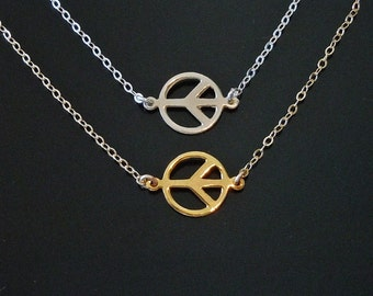 Peace Necklace in Gold or Silver - Set Center